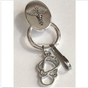 Medical Caduceus Pin ID Lanyard Eyeglass Holder RN